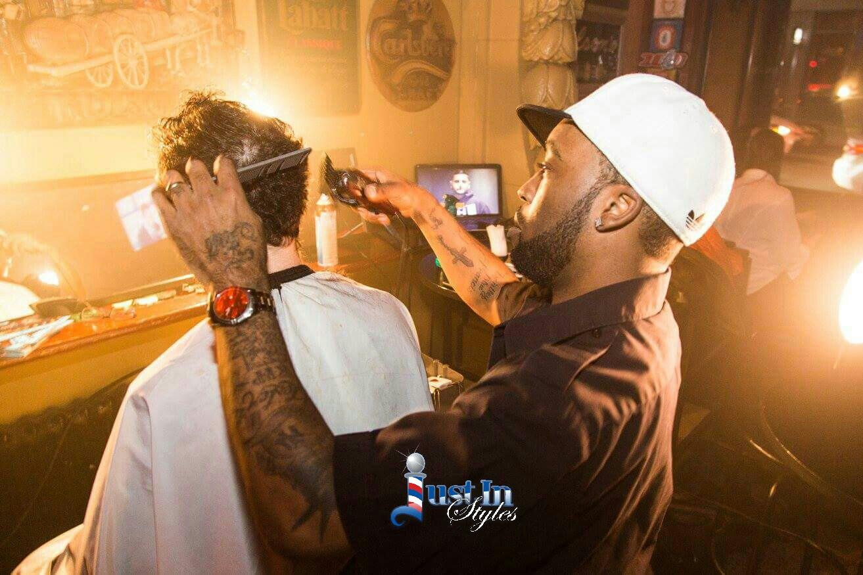Celebrity Barber Working at Montreal's Hip-Hop Karaoke Event
